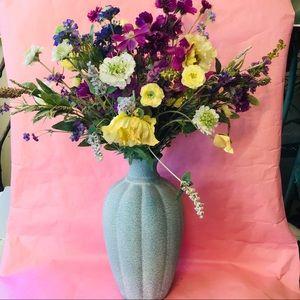 Vintage light blue tall vase with silk flowers